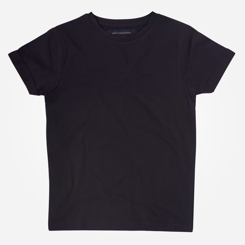 Kids Oliver Duke Cotton Rich Basic Black Crew Neck T-Shirt - klashcollection - 1