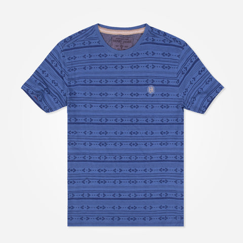 Men's Henry James Aztec allover print Crew Neck T-Shirt - Indigo Blue