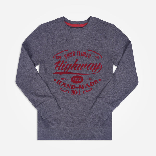 Kids Henry James Flock Print long sleeve Sweatshirt - Charcoal - klashcollection - 1