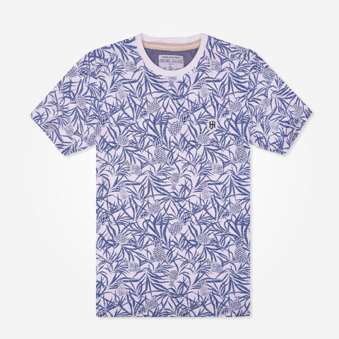 Men's Henry James Floral Print Crew neck T-shirt - White