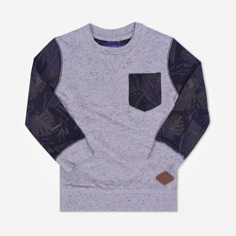 Kids Henry contrast sleeves sweatshirt with front pocket - Mix Grey - klashcollection - 1