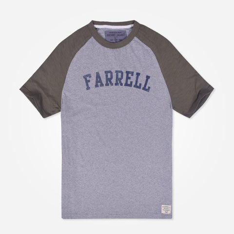 Men's Henry James Raglan Sleeved T-Shirt with Chest Print - Grey