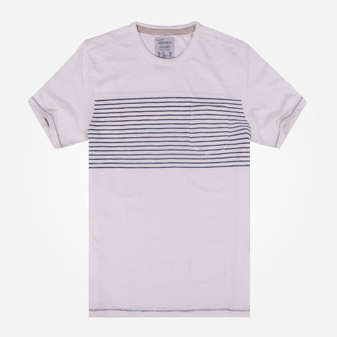 Men's Henry James Chest striped Crew Neck T-Shirt - Off White