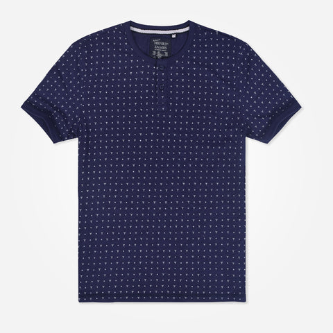 Men's Henry James allover Print Henley Shirt - Navy