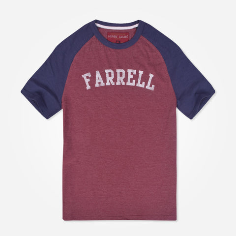 Men's Henry James Raglan Sleeved T-Shirt with Chest Print - Burgundy