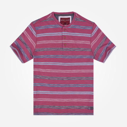 Men's Henry James short sleeve Striped Henley - Coral