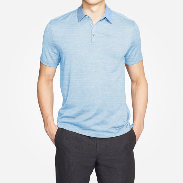 Men's Henry James dyed Yarn Thin stripe Jersey Polo shirt - DK - Shadon - klashcollection - 1