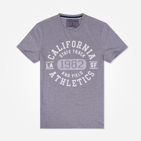 "Men's Henry James""CALIFORNIA"" printed Graphic crew neck T-Shirt"