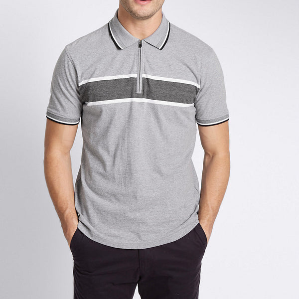 Men's Henry James Eng. Striped Zipper Polo Shirt - klashcollection - 1