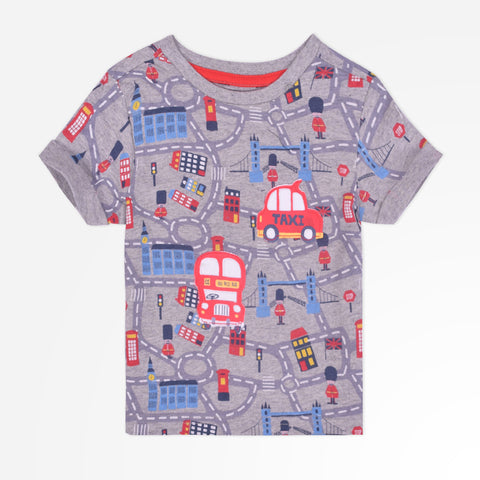 Kid's Henry James Funky allover printed crew neck T-shirt - Grey