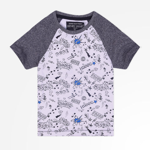Kid's Henry James Raglan Sleeved T-Shirt with allover -White