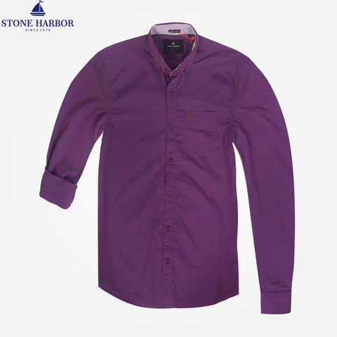 Men's Stone Harbor Solid Meadow Purple Casual Shirt - klashcollection - 1
