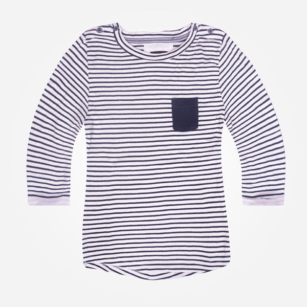 Ladies TAGG textured striped  fabric pocket crew  - Navy/White - klashcollection - 1
