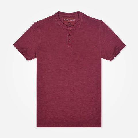 Men's Henry James short sleeve Henley - Burgundy