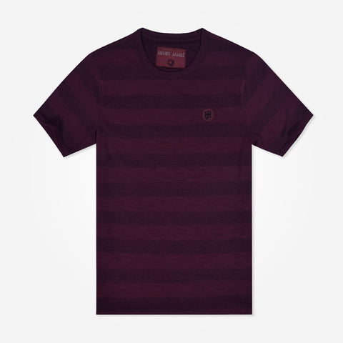 Men's Henry James yarn dyed striped t shirt - Rumba Red
