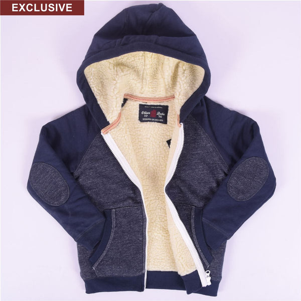 Copy of Kids Oliver Duke Two tone Fur lined Zipper Hoodie - Jeans Marl Navy - klashcollection - 1