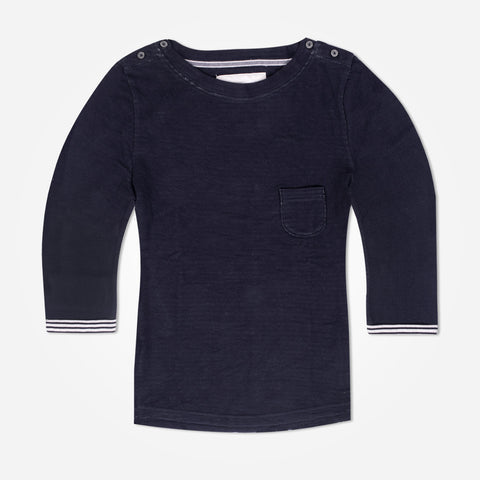 Ladies TAGG textured fabric pocket crew - Navy - klashcollection - 1