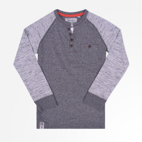 Kid's Henry James Raglan Sleeves Henley Shirt - Grey