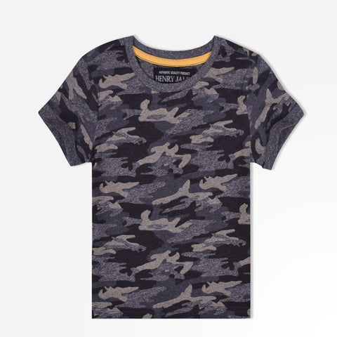 Kids Henry James allover camouflage printed crew neck Tee Shirt