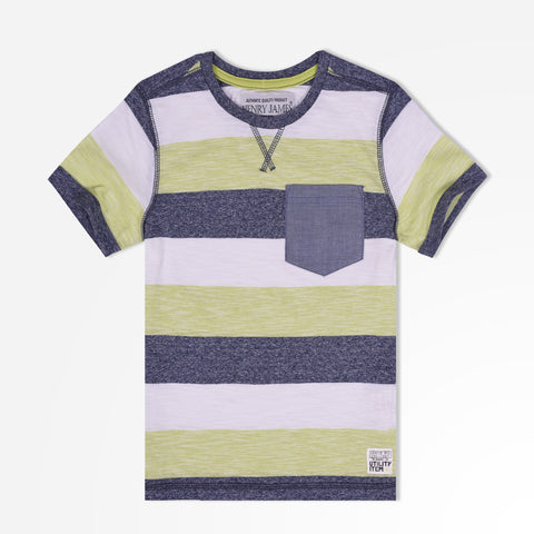 Kid's Henry James Elegant Striped Pocket T-Shirt - Lime Green/White