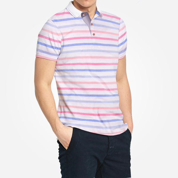 Men's Henry James Rich Cotton Dyed Yarn Striped Polo Shirt. - klashcollection - 1