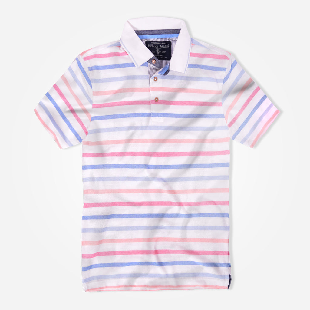 Men's Henry James Rich Cotton Dyed Yarn Striped Polo Shirt. - klashcollection - 2