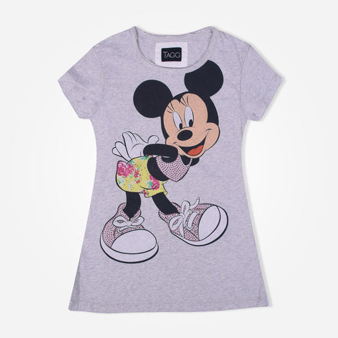 Girl's TAGG  Mickey with Diamantes printed Crew Neck  T-shirt