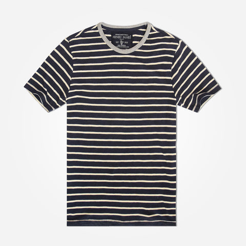 Men's Henry James  Pattern Striped crew neck T Shirt - Navy