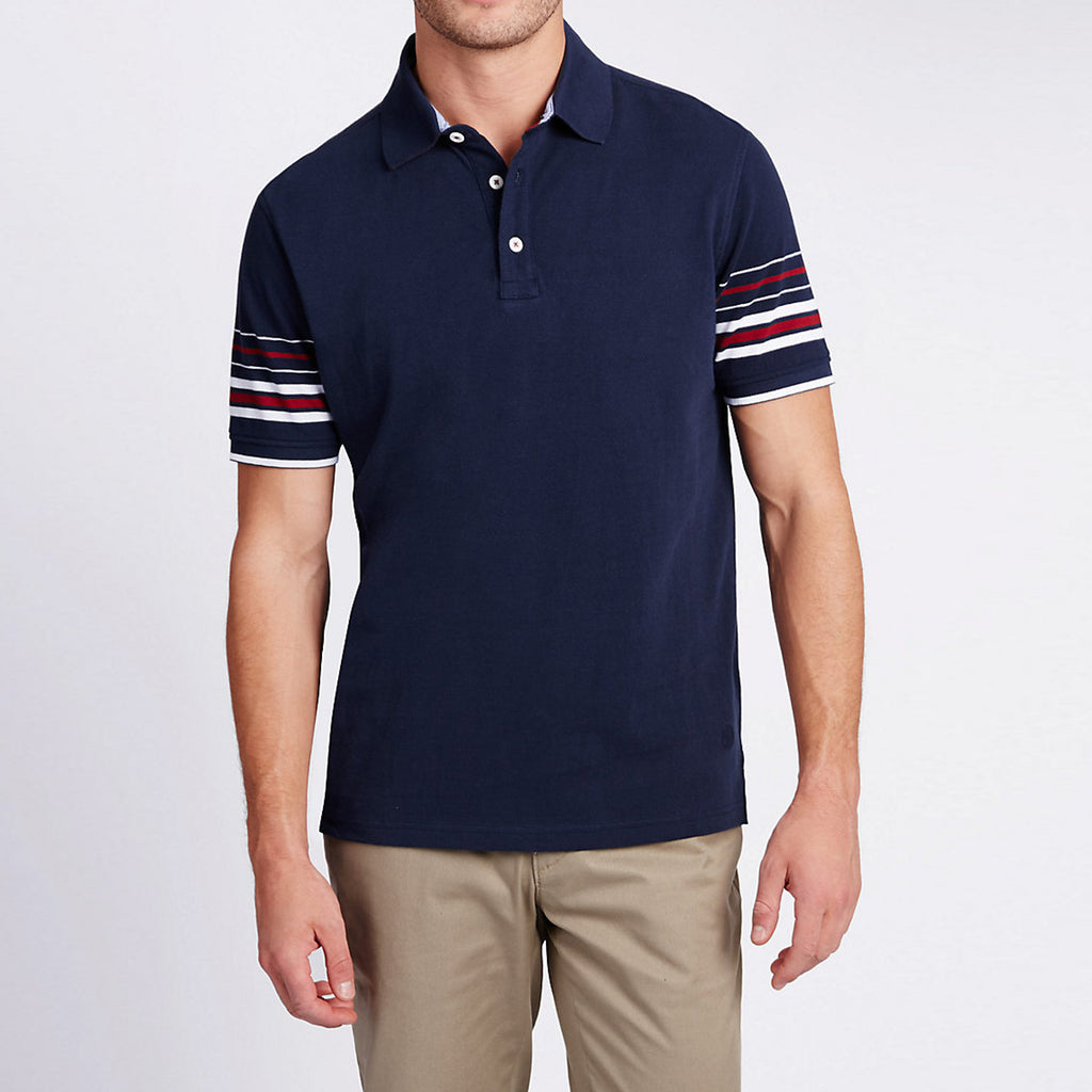 Men's Henry James Navy Striped Sleeve Polo Shirt - klashcollection - 1