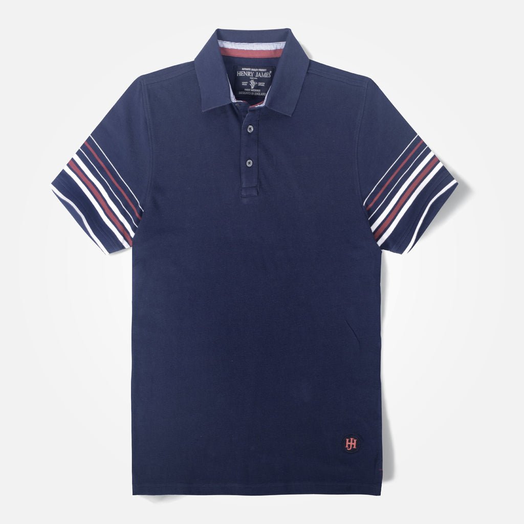 Men's Henry James Navy Striped Sleeve Polo Shirt - klashcollection - 2