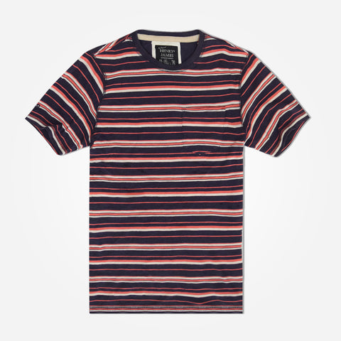 Men's Henry James Yarn dyed Pattern Stripes crew neck T Shirt - Navy/Red