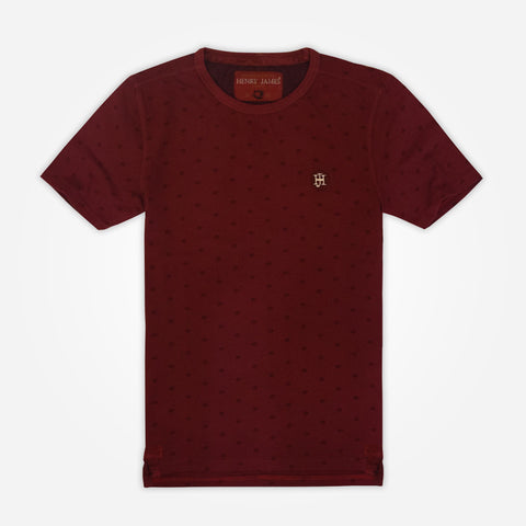 Men's Henry James Allover printed Crew neck T- Shirt - Burgundy