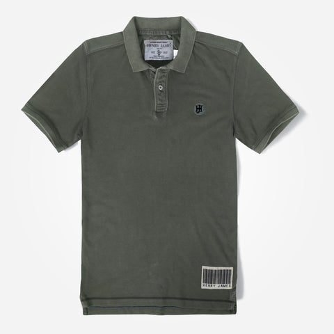 Men's Henry James Heavy Washed Polo Shirt - Olive Green