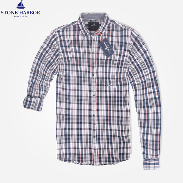 Men's Stone Harbor Single Pocket Congo Checked Casual Shirt - Navy/Grey - klashcollection - 1
