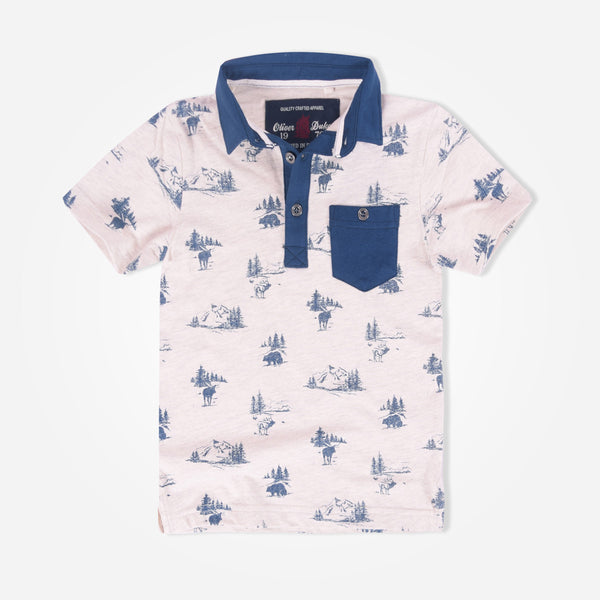 Kids Oliver Duke Beach  Printed Pocket Polo Shirt - klashcollection - 1