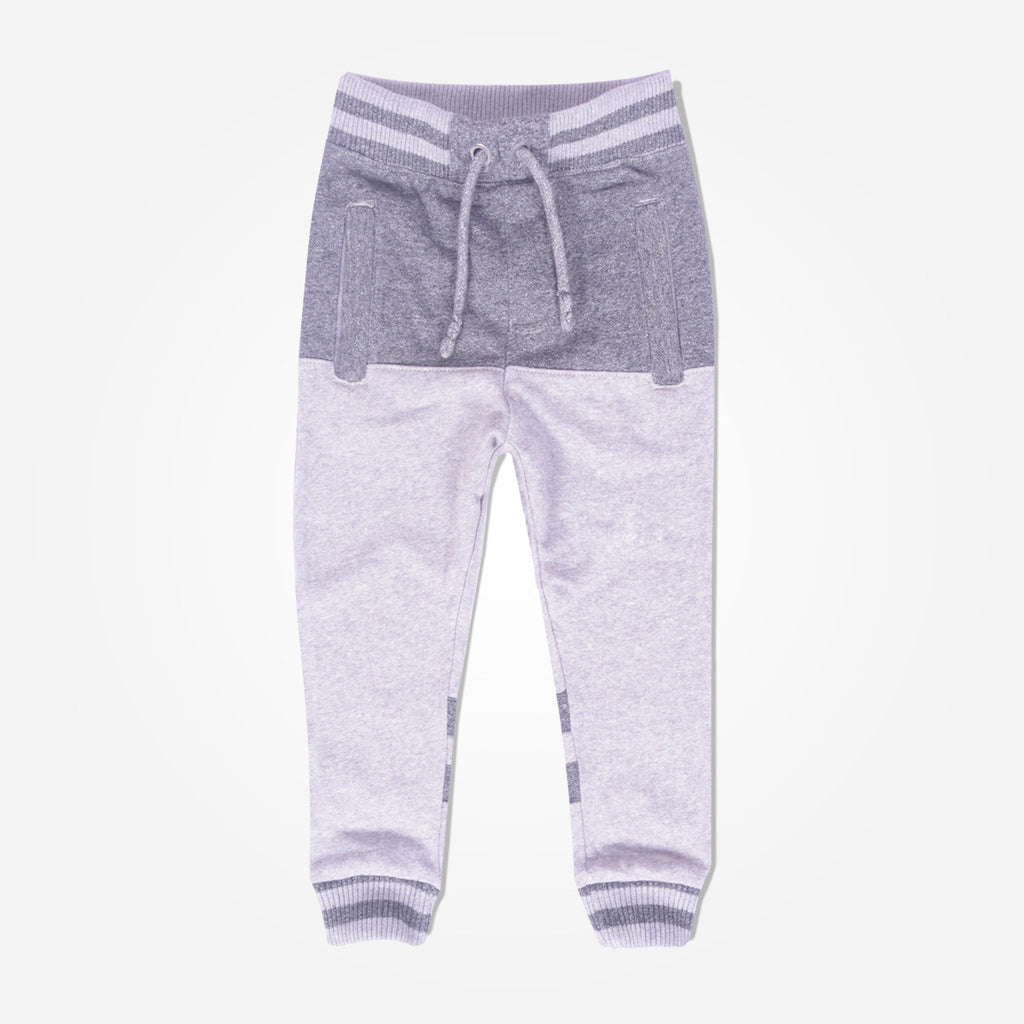 Kid's Oliver Duke close bottom Jogger With Cut & Sew panels - Mid Grey/Light Grey - klashcollection - 1