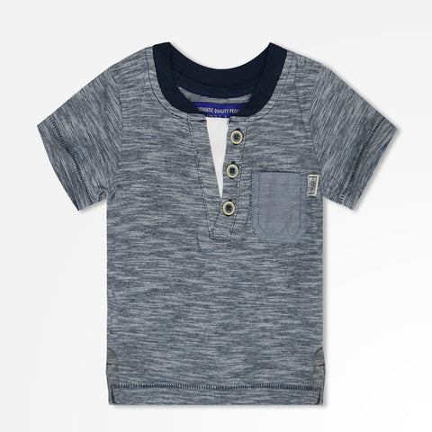 Kids Henry James Double Neck Henley Shirt - Grey Marl