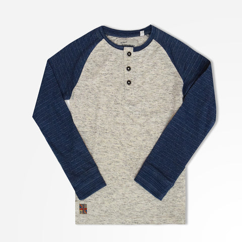 Kid's Henry James long sleeves Henley Shirt - Blue/Ecru