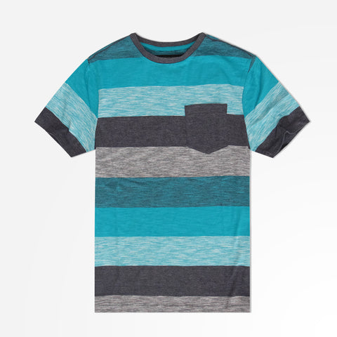 Kids Henry James Tonal Striped Pocket  Tee Shirt - Teal/Charcoal