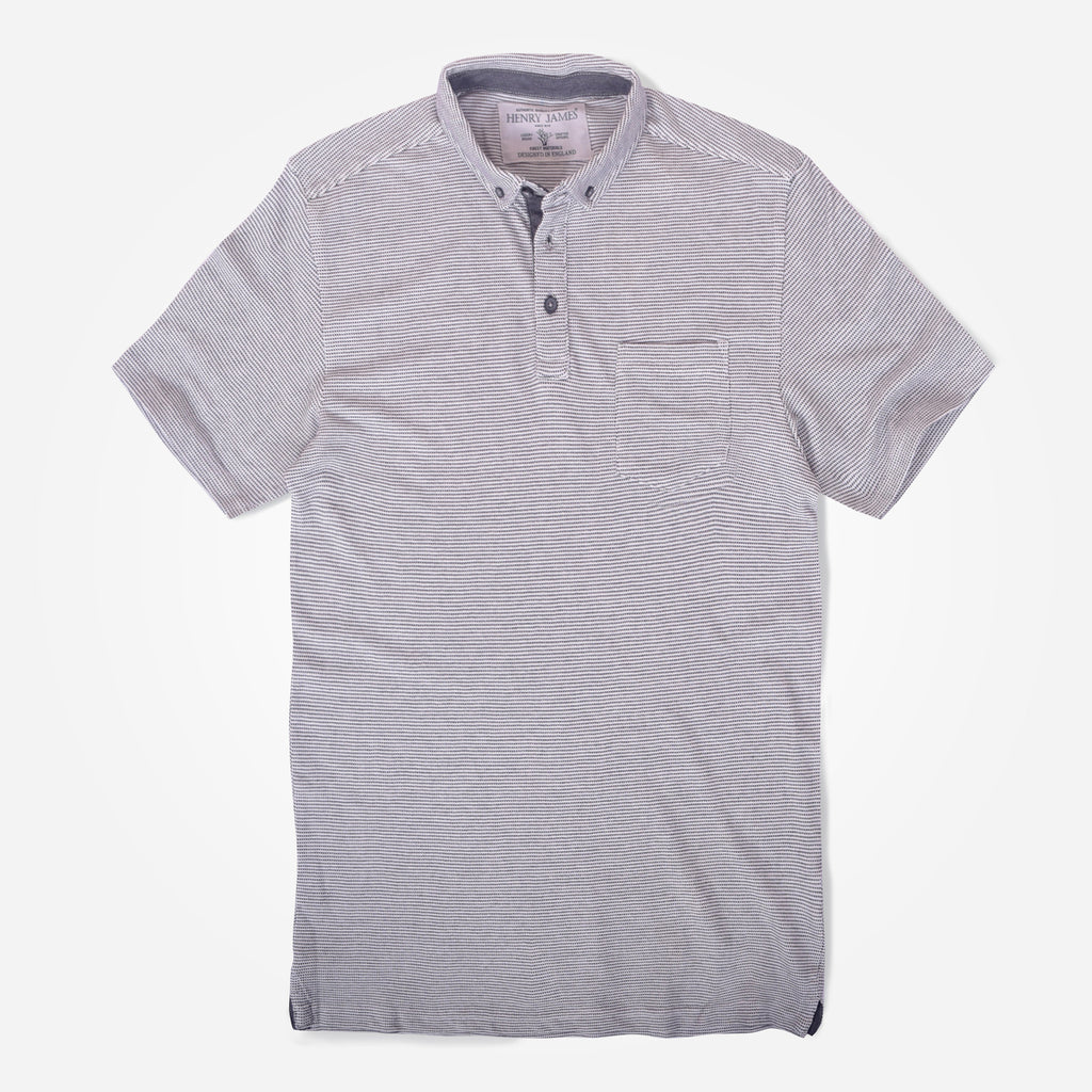 Men's Henry James jacquard Textured  Button Down Polo Shirt - klashcollection - 1