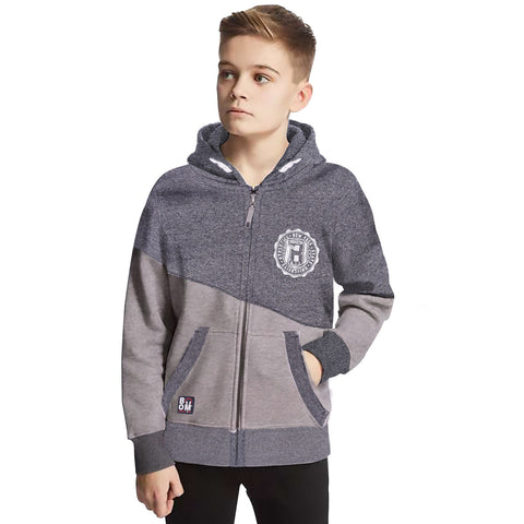 Kids Henry James contrast block  Zip Through Hoodie - Grey Marl - klashcollection - 1