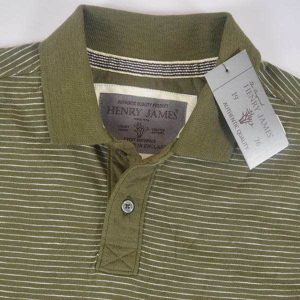 Men's Henry James dyed Yarn Thin Strip Self Collar Polo Shirt - Green - klashcollection - 2