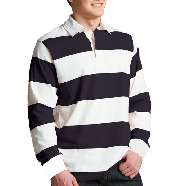 Men's Henry James Yarn Dyed Long sleeve Broad Stripper rugby Shirt - Navy offwhite - klashcollection - 1