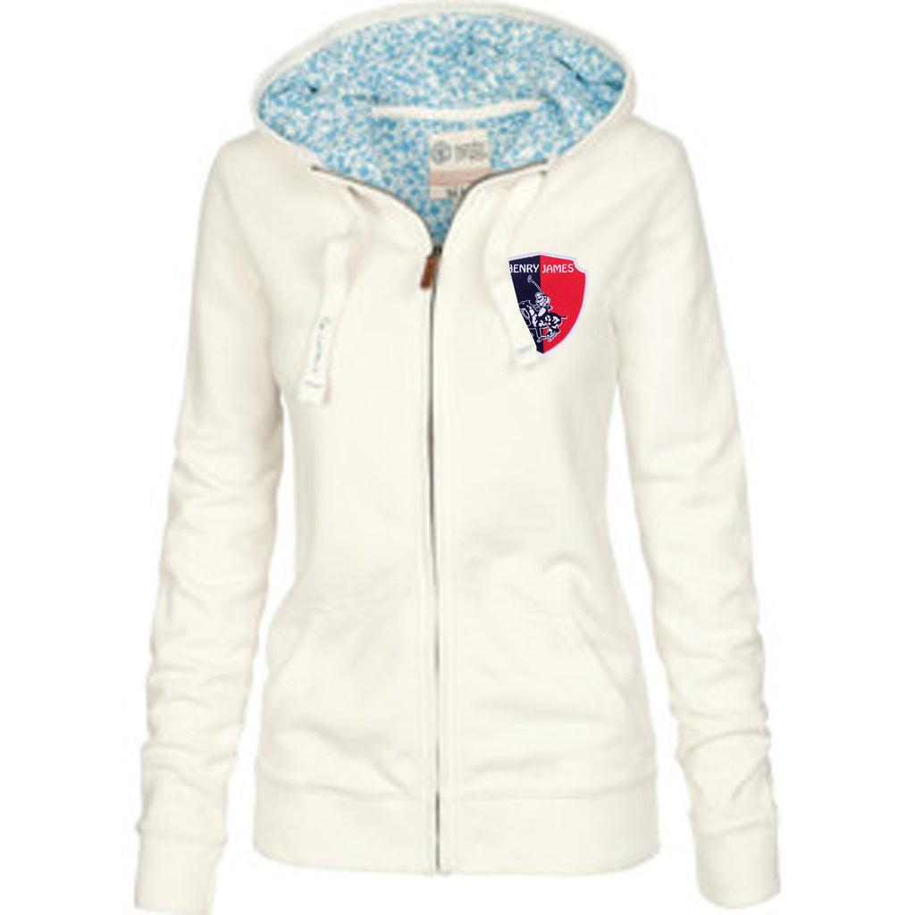 Women's TAGG Rye Zip Through Hoodie With Left Chest Applique Badge - White - klashcollection - 1