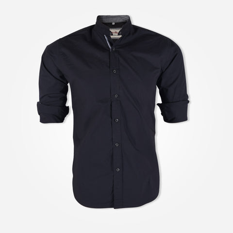 Men's Cotton Candy Banded Collar Shirts - Black