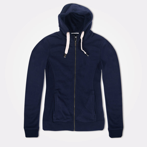 "Women ""TAGG"" Super Soft Zip Through Hoodie With Side Ribbed Panels - Navy - klashcollection - 1"
