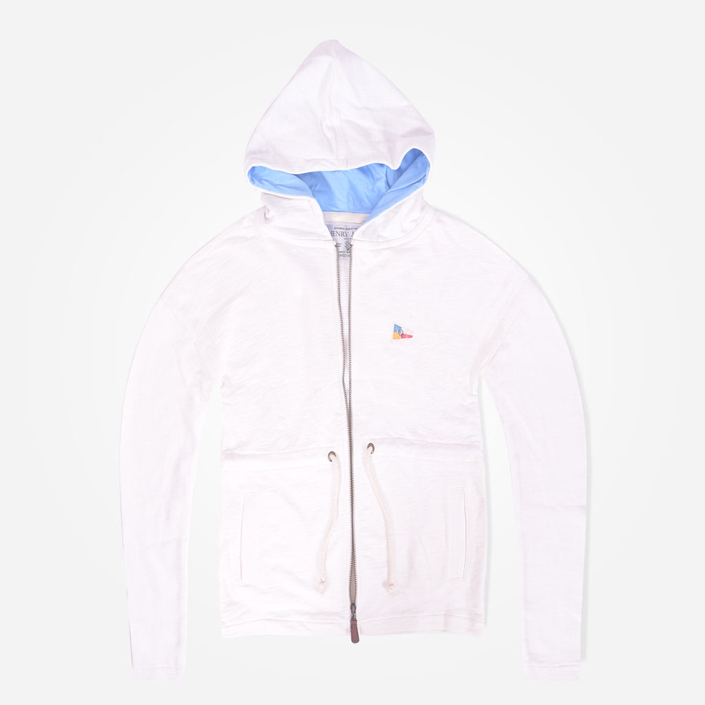 Women Henry James French terry zip through semi winter Hooded - Off White - klashcollection - 1