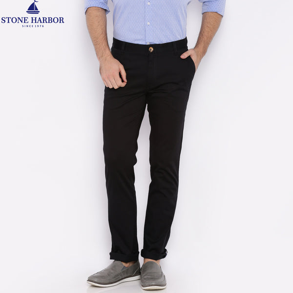 "Men's ""Stone Harbor"" Slim fit Cotton Chino Pant - Jet Black - klashcollection - 1"