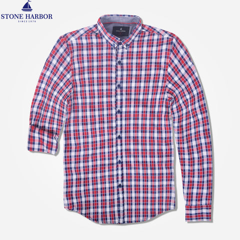 "Men's "" Stone Harbor"" Red Checked Casual Shirt - klashcollection - 1"