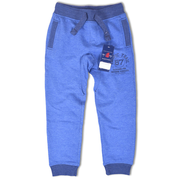 Kids Oliver Duke Close bottom Sweat pant with Rubber print on Thigh - Royal Jeans Marl - klashcollection - 1